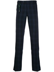 Berwich Cord Detail Checked Trousers Blue