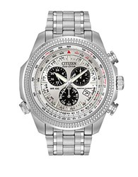 Citizen Mens Eco Drive Stainless Steel Alarm Chronograph Watch Silver