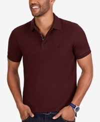 Nautica Men's Short Sleeve Performance Deck Polo Shipwreck Burgundy