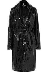 Rains Glossed Pu Trench Coat Black