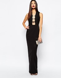 Aq Aq Aqaq Climax Column Maxi Dress With Metal Plunge Front Black