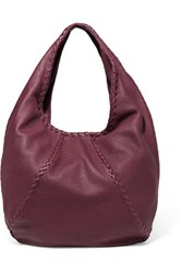 Bottega Veneta Hobo Large Textured Leather Shoulder Bag Burgundy
