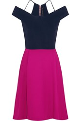 Roland Mouret Natan Two Tone Off The Shoulder Wool Crepe Mini Dress Pink