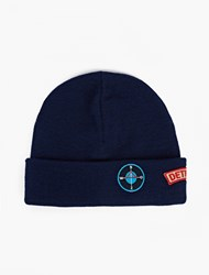 Raf Simons Blue Patch Detail Beanie Hat Navy