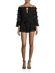 Alice Mccall Pastime Paradise Off The Shoulder3d Flower Romper Black