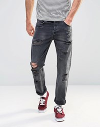 Asos Straight Jeans With Rips In Washed Black Washed Black