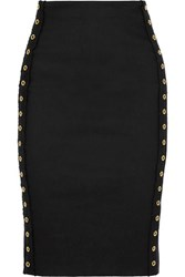 Derek Lam 10 Crosby By Grommet Embellished Stretch Linen Blend Skirt Black