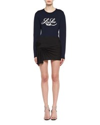 Saint Laurent Loulou Wool Crewneck Sweater Navy