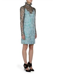 Lanvin Metallic Lace And Brocade Dress Pale Blue Black
