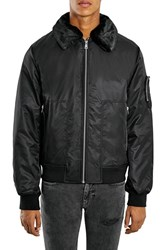 Men's Topman Aviator Jacket With Removable Faux Fur Collar