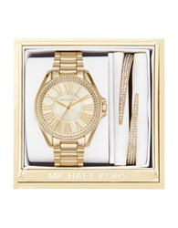 Michael Kors Kacie Stainless Steel Studded Bracelet Watch And Bangle Set Gold