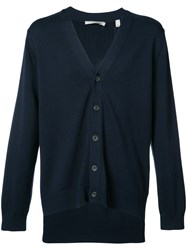 Vince Knitted Cardigan Men Cotton Nylon Viscose Cashmere M Blue