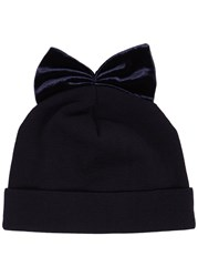 Federica Moretti Midnight Blue Velvet Bow Wool Beanie Navy