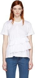 Marques Almeida White Gathered T Shirt