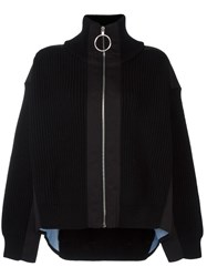Paco Rabanne Turtleneck Zipped Thick Cardigan Black