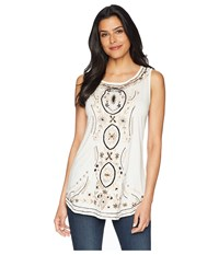 Scully Bethia Classy Embroidered Tank With Sewn On Stone Accents Ivory Clothing White