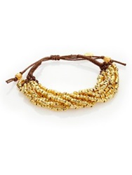 Chan Luu Beaded Cord Multi Strand Bracelet Gold Brown