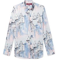 Sies Marjan Sander Printed Washed Satin Shirt Blue