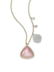 Meira T Rose Quartz Mother Of Pearl Diamond And 14K Yellow Gold Pendant Necklace Gold Multi