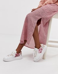 Ted Baker Leather Floral Trainers White