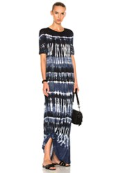 Raquel Allegra Drama Maxi Dress In Black Blue Ombre And Tie Dye Black Blue Ombre And Tie Dye