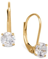 Macy's Solitaire Cubic Zirconia Hoop Earrings In 14K Yellow White And Rose Gold