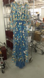 Luisa Beccaria Floral Embroidered Gown Blue