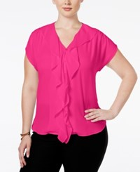 Inc International Concepts Ruffled Short Sleeve Blouse Only At Macy's Intense Pink