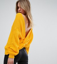 Missguided Twist Back Oversized Jumper Yellow