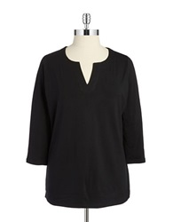 Jones New York Plus Plus Split V Neck Tunic Black