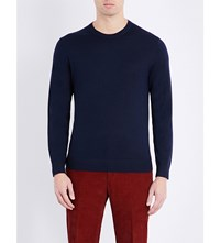 Gieves And Hawkes Crewneck Wool Cashmere Blend Knitted Jumper Navy