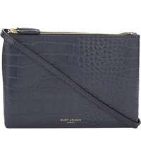 Kurt Geiger London Pisces Crocodile Embossed Leather Cross Body Bag Navy