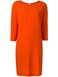 M Missoni Three Quarters Sleeve Shift Dress Yellow Orange