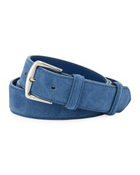 Loro Piana Alsavel Suede Belt Medium Blue