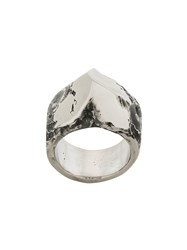 Lost And Found Ria Dunn Brushed Faceted Ring Stainless Steel Metallic