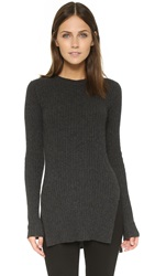 Autumn Cashmere Ribbed Tunic With Side Slits Pepper