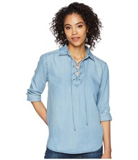 Liverpool Lace Up Front Shirt Sonoma Light Clothing Blue