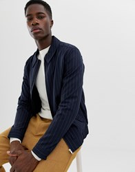 Selected Homme Jacket With Chalk Stripe Dark Navy