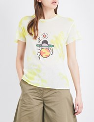 The Elder Statesman Printed Cashmere And Silk Blend T Shirt Yellow