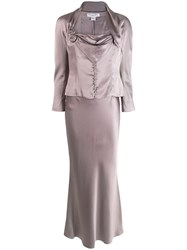 Christian Dior Vintage Two Piece Skirt Suit Grey