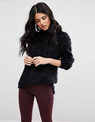 Blend She Feather High Neck Long Sleeved Top Black