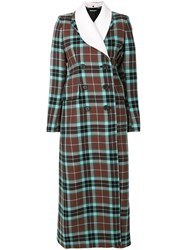 Alessandra Rich Tartan Double Breasted Coat Viscose Virgin Wool Brown