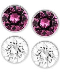 Swarovski Silver Tone Purple And Clear Crystal Stud Earring Set