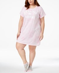 By Jennifer Moore Plus Size Graphic Print Sleepshirt With Socks Created For Macy's Pink Tiedye