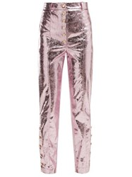 Hillier Bartley Crackle Coated Metallic Trousers Pink