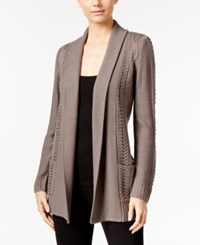 Ny Collection Petite Cable Knit Open Front Cardigan Desert Mauve