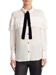 Saks Fifth Avenue Collection Pleated Ruffle Silk Blouse Ivory