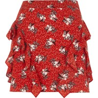 River Island Petite Red Floral Print Frill Mini Skirt