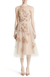 Carolina Herrera Women's Sequin Leaf Tulle Midi Dress