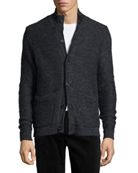 Billy Reid Textured Button Down Sweater Charcoal